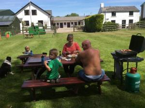 Enjoying a barbecue in the Paddock, Forest of Dean holiday Cottages